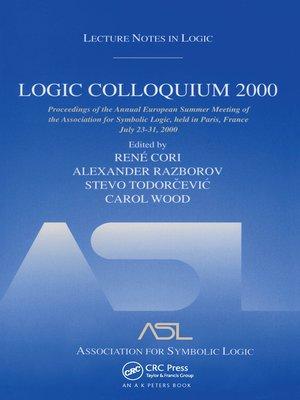 cover image of Logic Colloquium 2000 (hardcover)