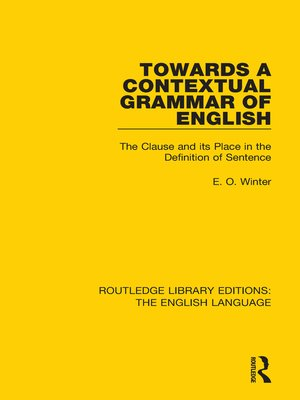 cover image of Towards a Contextual Grammar of English