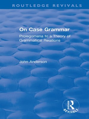 cover image of On Case Grammar