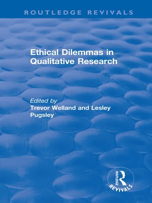 cover image of Ethical Dilemmas in Qualitative Research