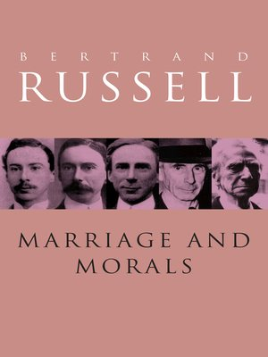 cover image of Marriage and Morals