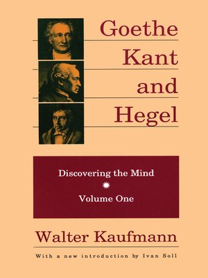 cover image of Goethe, Kant, and Hegel