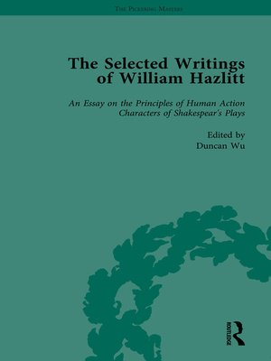 cover image of The Selected Writings of William Hazlitt Vol 1