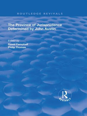 cover image of The Province of Jurisprudence Determined by John Austin