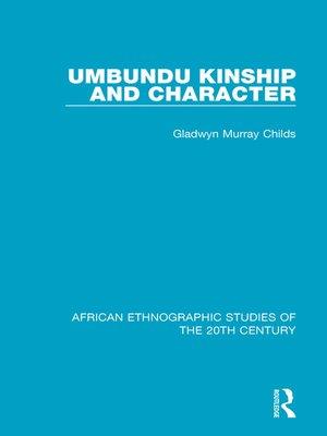 cover image of Umbundu Kinship and Character