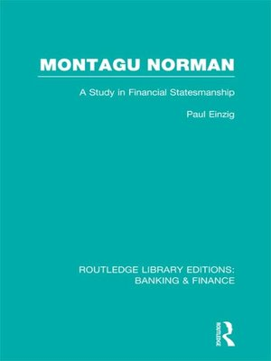 cover image of Montagu Norman (RLE Banking & Finance)