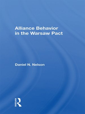 cover image of Alliance Behavior In the Warsaw Pact