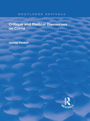 cover image of Critique and Radical Discourses on Crime