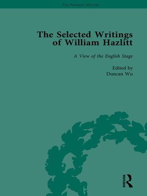 cover image of The Selected Writings of William Hazlitt Vol 3