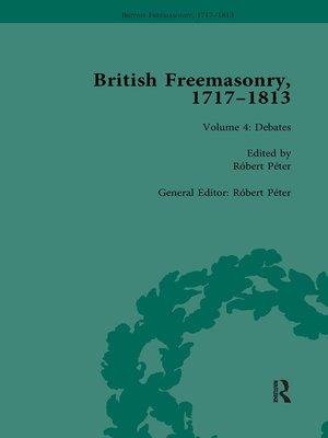 cover image of British Freemasonry, 1717-1813 Volume 4