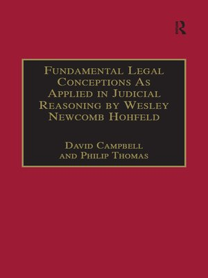 cover image of Fundamental Legal Conceptions As Applied in Judicial Reasoning by Wesley Newcomb Hohfeld