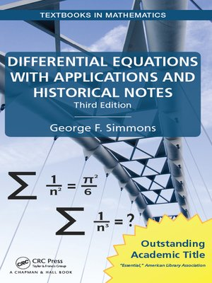 cover image of Differential Equations with Applications and Historical Notes