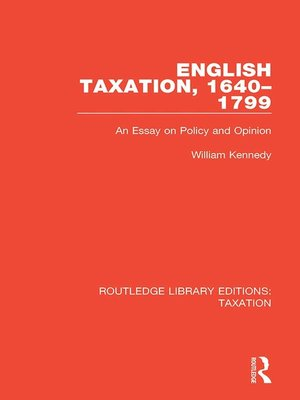 cover image of English Taxation, 1640-1799