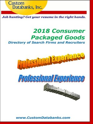 cover image of 2018 Consumer Packaged Goods Directory of Search Firms and Recruiters