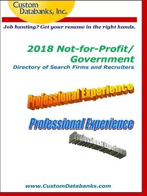 cover image of 2018 Not-for-Profit/Government Directory of Search Firms and Recruiters