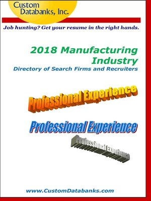 cover image of 2018 Manufacturing Industry Directory of Search Firms and Recruiters
