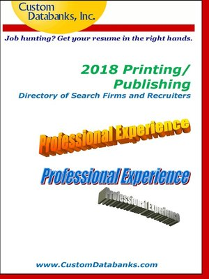 cover image of 2018 Printing/Publishing Directory of Search Firms and Recruiters
