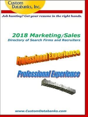cover image of 2018 Marketing/Sales Directory of Search Firms and Recruiters