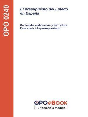 cover image of El presupuesto del Estado en España