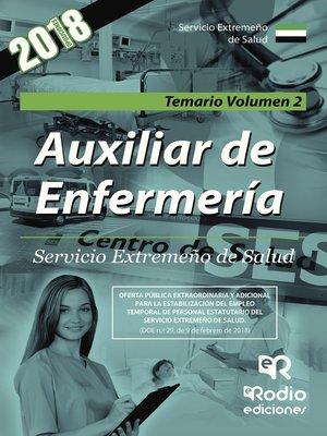 cover image of Auxiliar de Enfermería. Servicio Extremeño de Salud. Temario Volumen 2