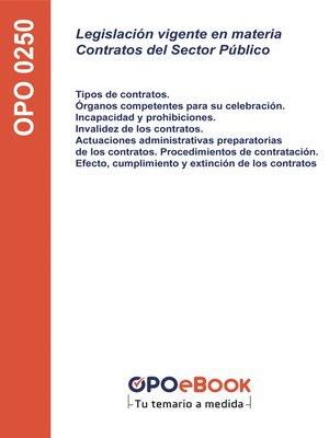 cover image of Legislación vigente en materia Contratos del Sector Público