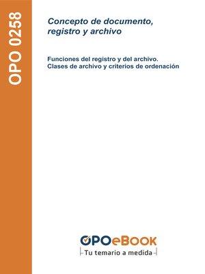 cover image of Concepto de documento, registro y archivo