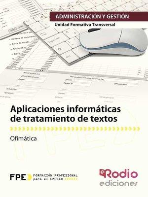 cover image of Aplicaciones informáticas de tratamiento de textos