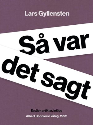 cover image of Så var det sagt