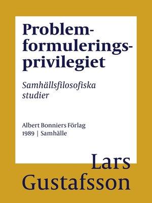 cover image of Problemformuleringsprivilegiet