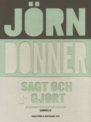 cover image of Sagt och gjort