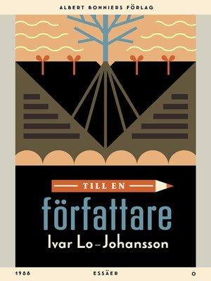 cover image of Till en författare