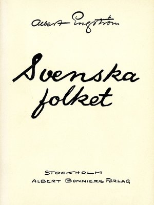 cover image of Svenska folket