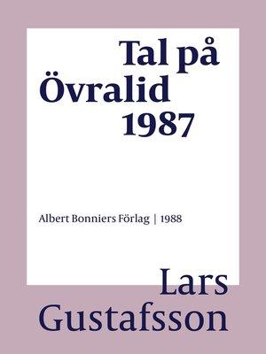 cover image of Tal på Övralid 1987