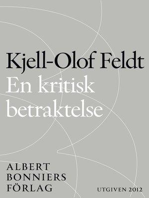 cover image of En kritisk betraktelse