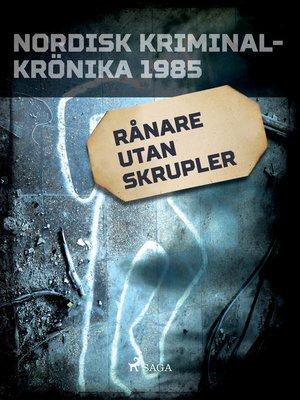 cover image of Rånare utan skrupler