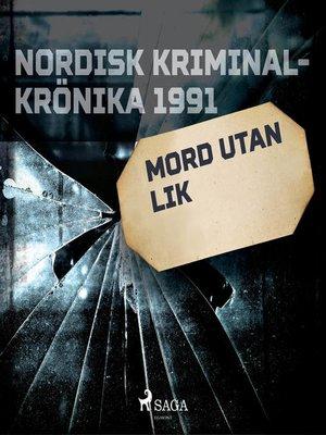 cover image of Mord utan lik