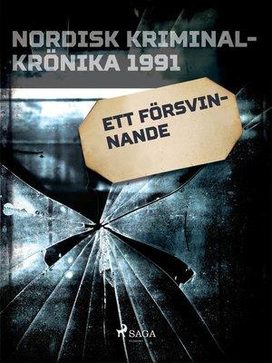 cover image of Ett försvinnande