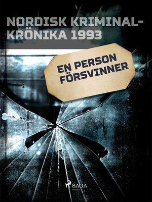 cover image of En person försvinner