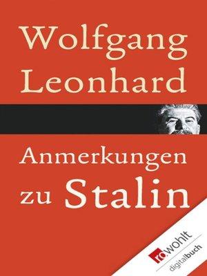 cover image of Anmerkungen zu Stalin