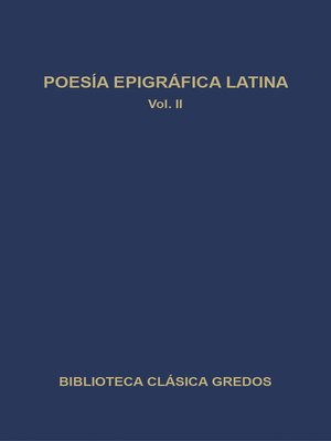 cover image of Poesía epigráfica latina II