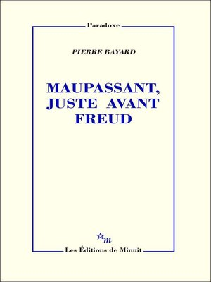 cover image of Maupassant, juste avant Freud