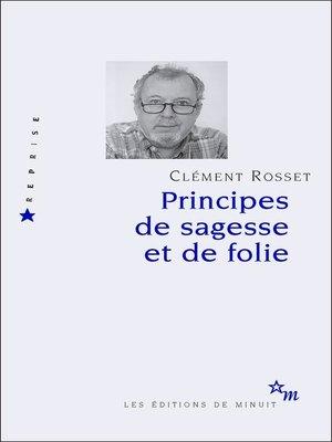 cover image of Principes de sagesse et de folie