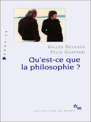 cover image of Qu'est-ce que la philosophie?