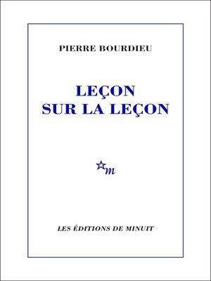cover image of Leçon sur la leçon