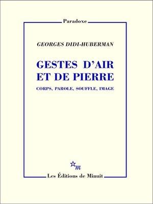 cover image of Gestes d'air et de pierre