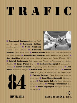 cover image of Trafic N° 84 (Hiver 2012)