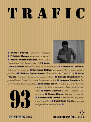 cover image of Trafic n° 93 (Printemps 2015)