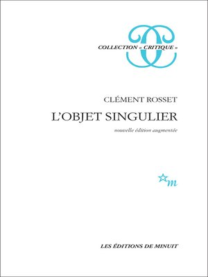 cover image of L'Objet singulier